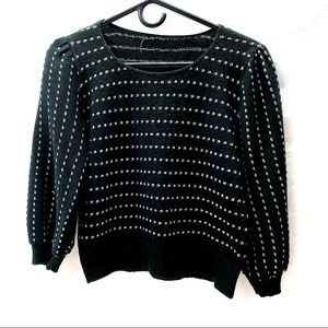 Vintage Black & Silver Sweater Puff Sleeve 80s